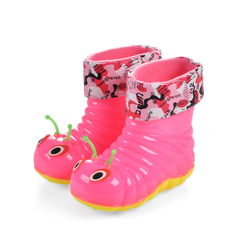JUFOYU Children Rainboots Waterproof Soild Candy Colors Rubber Warm Boys Girls Rain Boots children Rain Shoes drop ship