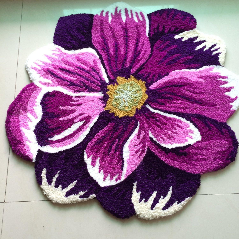 """66 см* 66 см ковер ручной работы фиолетовый и белый цветочный дизайн спальный коврик нескользящий ковер/ковер, 25,"""" x 25,6"""" - Цвет: Фиолетовый"""