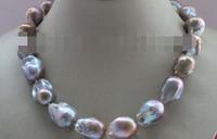 Jewelr 005676 18 Genuine Natural 23mm Purple Reborn Keshi Pearl Necklace