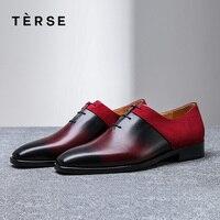 TERSE_Handmade обувь из натуральной телячьей кожи замшевые туфли мужская обувь высокого качества итальянский кожаные модельные оксфорды обувь