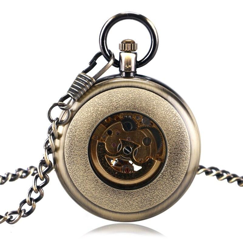 27d151da869 YISUYA Bronze Abrir Rosto Automático Relógio de Bolso Mecânico Do Vintage  Algarismos Romanos Relógio de Tempo Com 30 cm Cadeia Fob Relógios ...