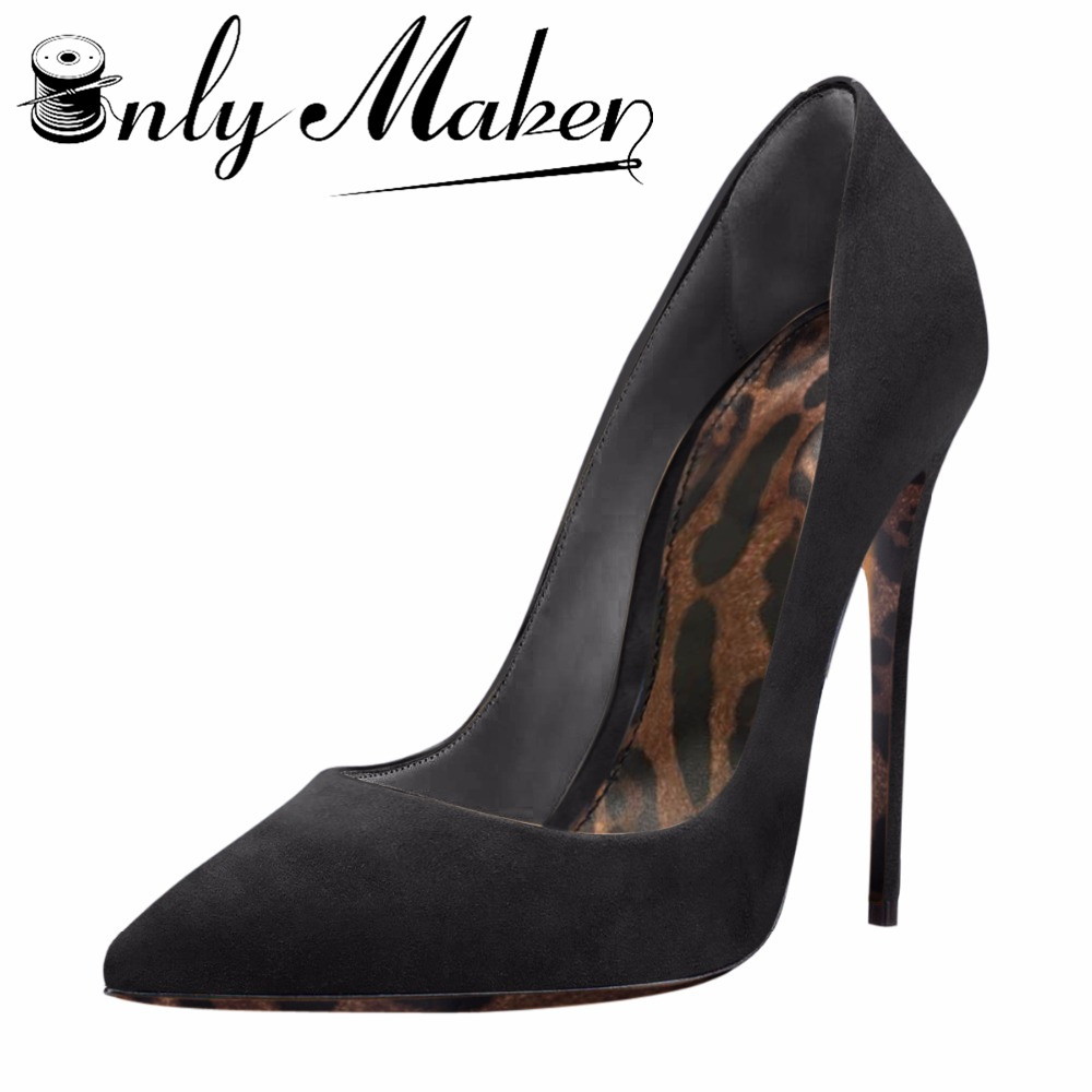 Onlymaker Women Shiny Leopard Print Sole Pointed Toe Stiletto 12cm 4.7 inch Thin High Heel Sexy Plus big Size Suede Pumps Shoes onlymaker women patent suede 12cm 4 7 inches thin high heel stilettos pointed toe plus big size 15 dress comfortable pumps shoes