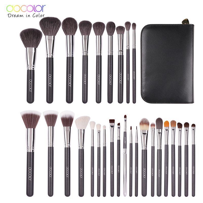 Docolor Make up Borstels 29 stks profeesional make up borstel Set Met Case Top natuur varkenshaar en synthetisch haar make up kwasten set-in Oogschaduw Applicator van Schoonheid op  Groep 1