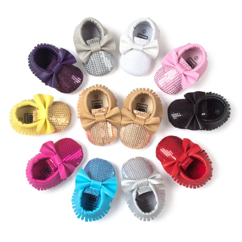 2016 Chic Spring Baby Shoes Newborn Boys Girls PU Leather Moccasins Sequin First Walkers