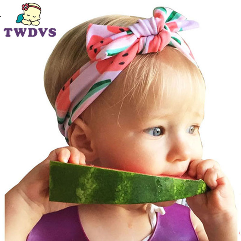 TWDVS 1PC Headwear Fruit Hair Band Dot Knot Headband Newborn Infant Children Hair Accessories Elastic HairBands KT056 metting joura vintage bohemian green mixed color flower satin cross ethnic fabric elastic turban headband hair accessories