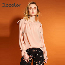 Clocolor Women Blouse Loose Long Sleeve O Neck Falbala 2017 New Sweet Girl Style Ruffles Spring Summer Pink Blouse Women Blouse