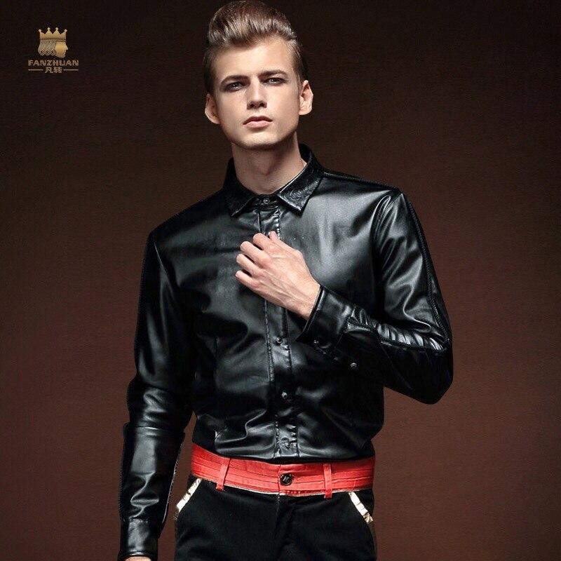 FanZhuan شحن مجاني جديد أزياء الرجال عارضة الذكور بأكمام طويلة الشتاء جلد قميص بلوزة الدافئة سميكة المخملية التطريز 14291-في قمصان كاجوال من ملابس الرجال على  مجموعة 1