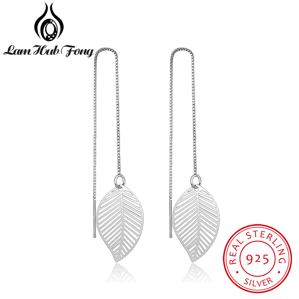 Hot Real 925 Sterling Silver Leaf Earrings For Women Girls Long Chain Tassel Drop Earring Brand Wedding Party Jewelry pair of stylish rhinestone embossed leaf tassel earrings for women