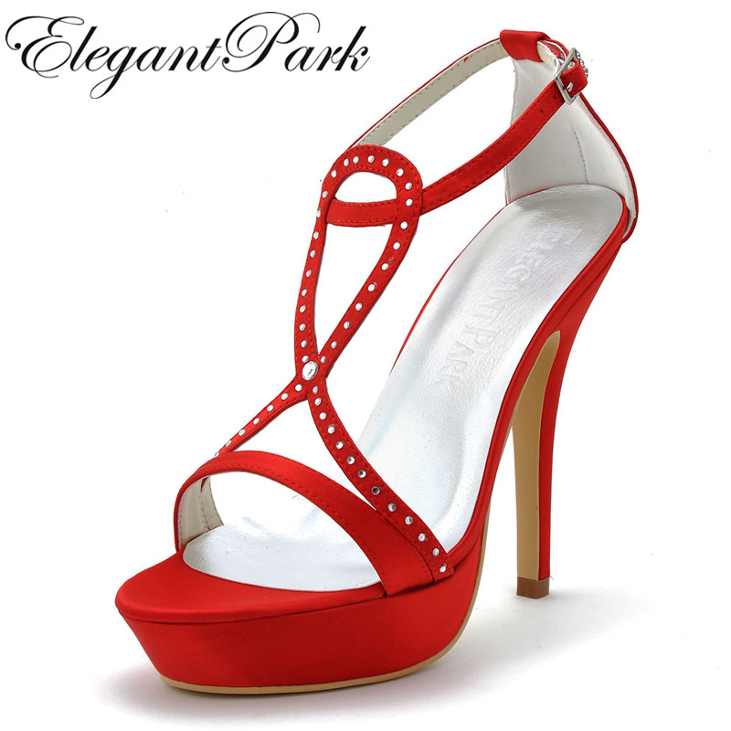 Wedding Sandals for Women Summer EP2118-PF Strappy Sandals Red High Heel Sexy Rhinestone Pumps Prom Party Shoes wedding heels lf40203 sexy white pink blue strappy heart heel wedge wedding sandals sz 4 5 6 7 8 9 10