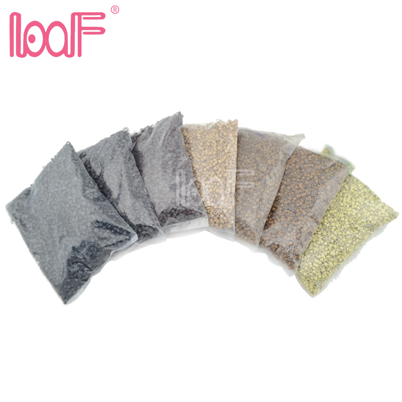 LOOF 10bags 50000 pcs 5 0x3 0x3 0mm silicone Micro Rings Links Beads For I tip