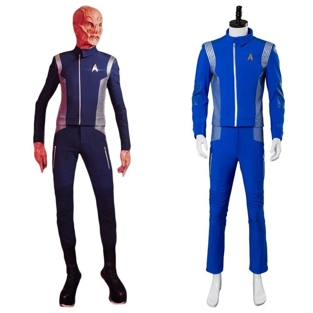 Star Trek Discovery Lt.Saru Cosplay Costume Blue Adult Men Science Crewman Costume Uniform Full Set Halloween Carnival Cosplay