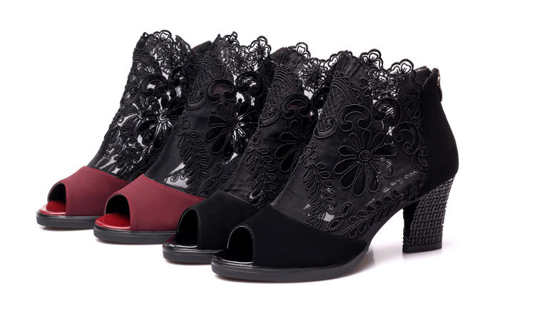 HTB19VKnKbvpK1RjSZFqq6AXUVXaW Women sandals 2019 fashion summer shoes women high heels hollow mesh sexy sandals size 35 - 43 mujer sandalias