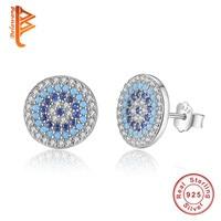 BELAWANG Luxury 100 925 Sterling Silver Elegant Round Crystal Evil Eye Stud Earrings For Women Fashion