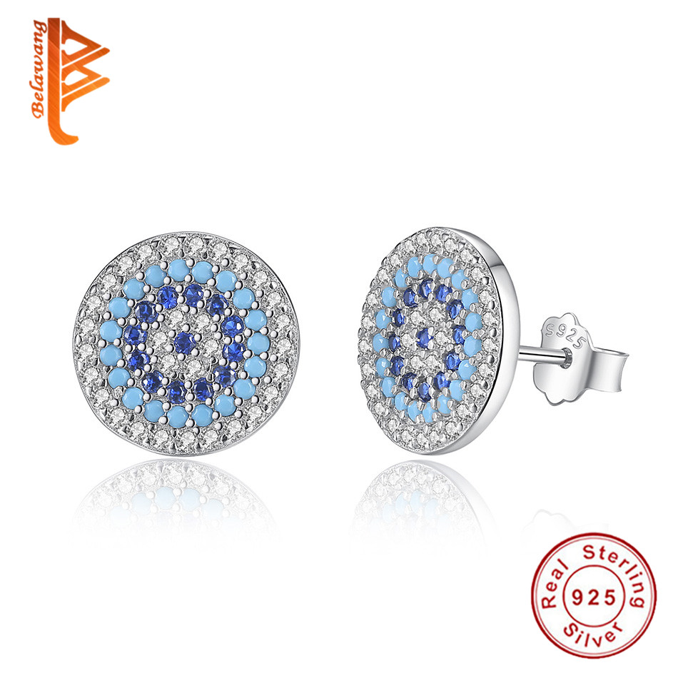 BELAWANG Luxury 100% 925 Sterling Silver Elegant Round Crystal Evil Eye Stud Earrings for Women Fashion Jewelry Brincos