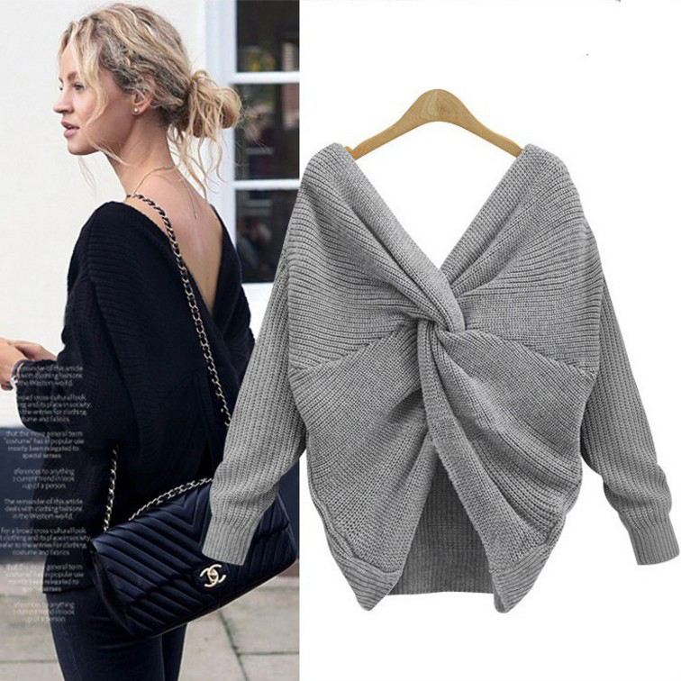 6 Colors V Neck Beauty Back Sweater Women 2018 Autumn Winter Knitted Sweater Pullover Womens Jumper Pull Femme Loose Sweater