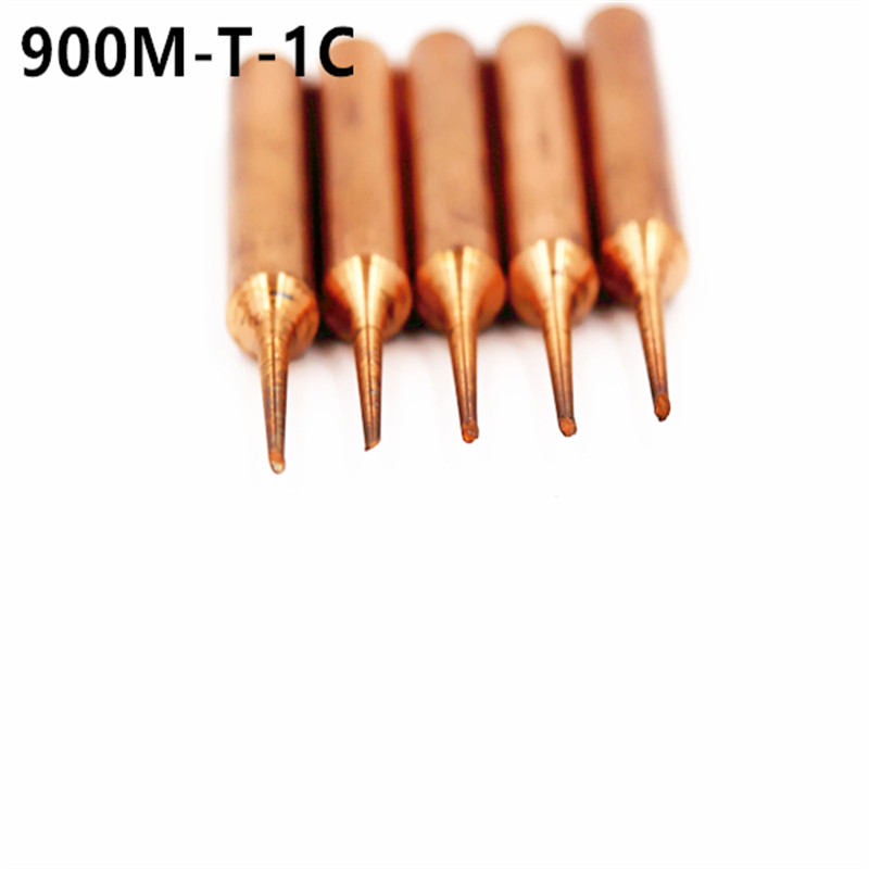 5pcs/lot 900M-T-1C Red Pure Copper Solder Tip  For Hakko 936 FX-888D Saike 909D 852D+ 952D Diamagnetic DIY 2C 3C 4C K B I SK IS