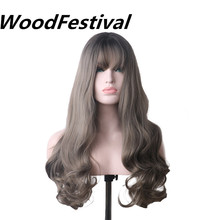 цена на WoodFestival Grey Long Wavy Synthetic Wig with bangs Cosplay Wigs for Women Heat Resistant