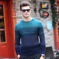 100% pura Lana camiseta Hombres de La Moda A Rayas de manga Larga Jerseys homme hombres Delgados fit Tops tee tallas grandes géneros de punto de invierno 2016