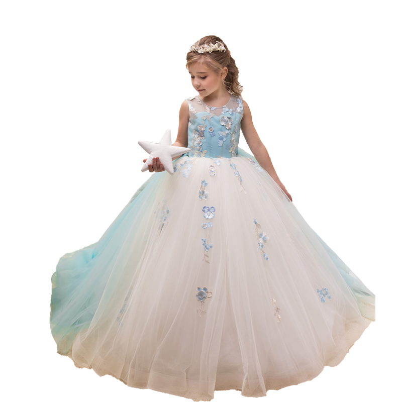 Ice Blue Little   Girls   Pageant   Dress   Long Kids Evening Ball Gowns Wedding Party Vestidos Para Nina   Flower     Girl     Dress   with Train