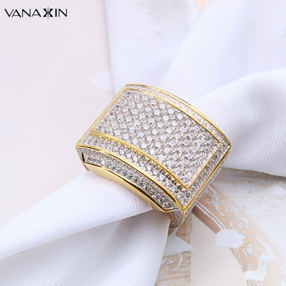 VANAXIN 925 Silver Rings For Men Bling Bling CZ Rhinestone Gold Silver Color Jewelry Masculine Ring