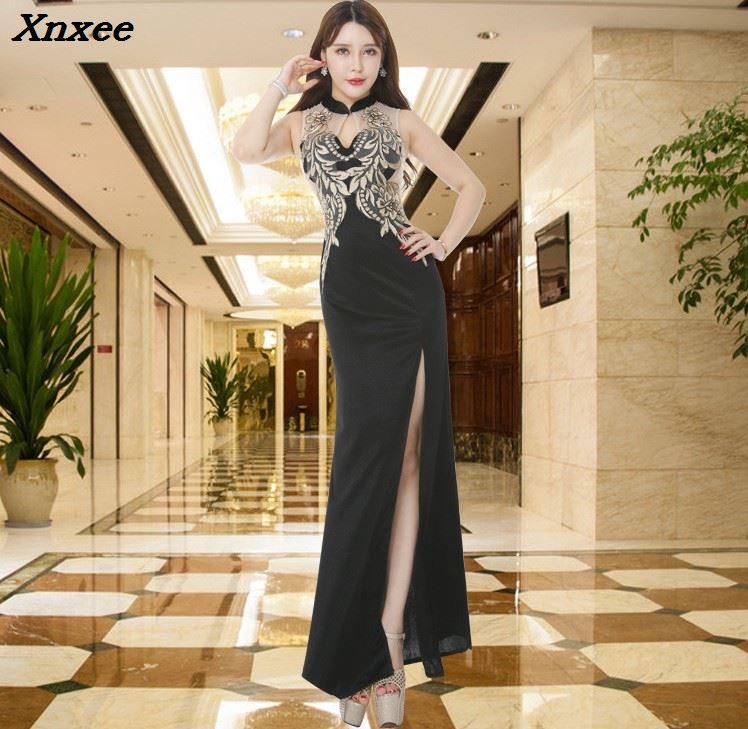 2018 Dark Navy Summer Dress Female Vistidos Maxi Dresses Women Elegant Slim Long For Evening Party Prom Plus Size Vestidos