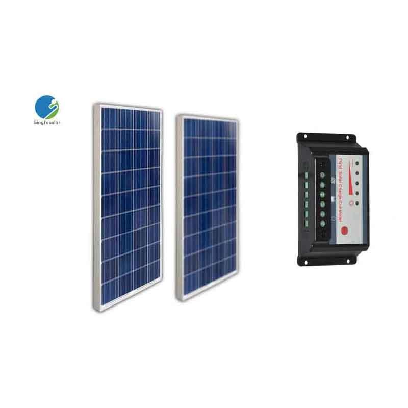 Solar Kit 200W For Home Solar Panel 100w 12v 2 Pcs Solar Charge Controller Regulator 10A 12V/24V Off Grid Motorhome Caravan uk stock 120w foldable solar panel ideal for caravan includes regulator complete kit