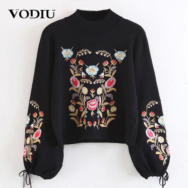 Musim Dingin Wanita Sweater Perempuan Pullover Baju Wanita Lengan Panjang  Dasi Merajut Bordir Hitam Fashion Tahun af602a6bcf