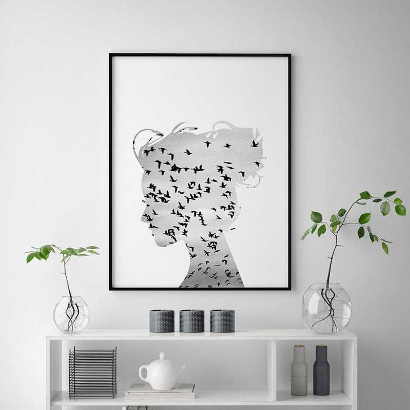 Nordic Scandinavian Art Canvas Print Wall Picture Flying Birds Girl Silhouette Canvas Painting Poster Living Room Modern Decor