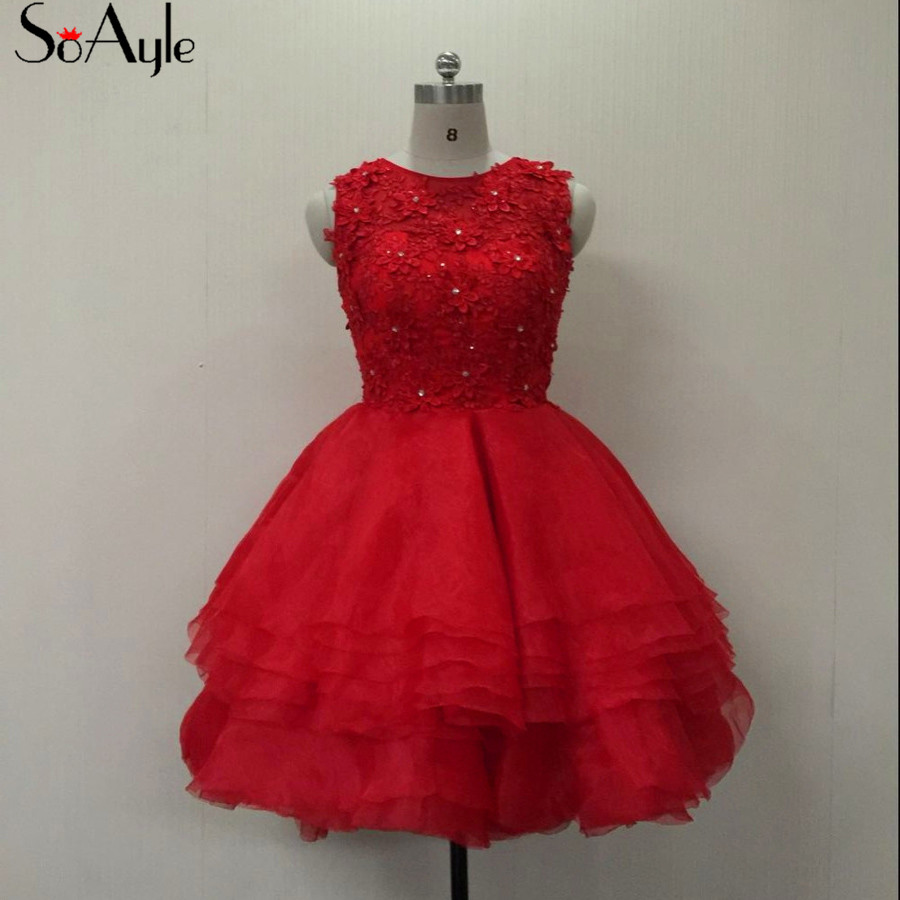 Novel Designs Soayle Ball Gown 2018 Cocktail Dresses Mini Short Dresses Organza Flower Dresses Red Formal Gowns Plus Size Girls Party Dress Famous For Selected Materials Delightful Colors And Exquisite Workmanship