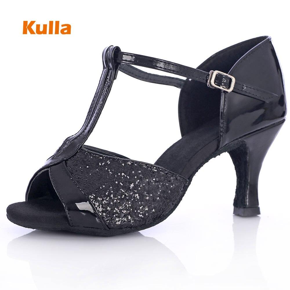 KULLA New Adult Latin Dance Shoes Black High-heeled Ballroom Tango Salsa Dancing Shoes For Women Ladies Zapatos Baile Latino