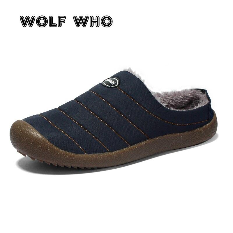 WOLF WHO Big Size 37-48 marca de moda Slip On Casual zapatos hombres invierno cálido Zapatillas Hombre mocasines de felpa perezosos zapatos de kresovki W-038
