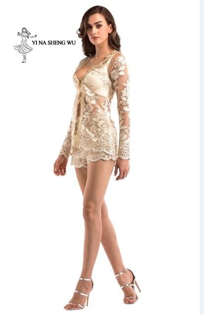 Women adult Translucent clothes 2-pieces set Jacket+short pant Sexy lady Party Nightclub High quality dinner Club Ballroom Dress 5