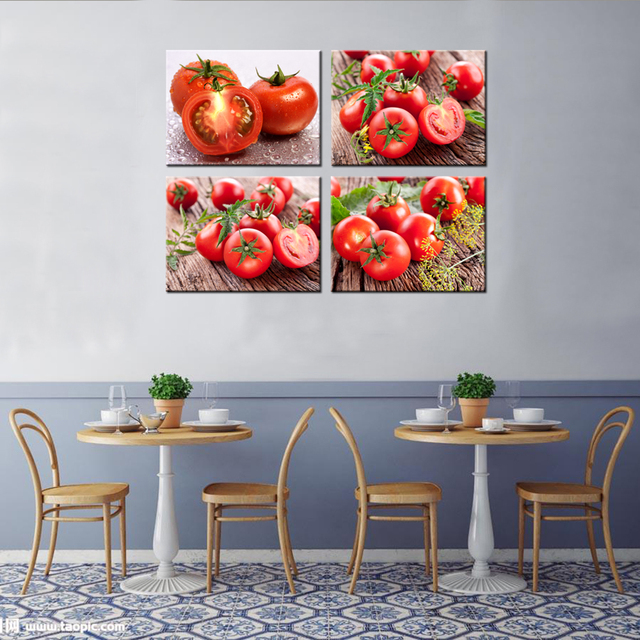 4 Panels Modern Printed HD Wall Pictures Tomatoes Home Decor Canvas Artwork  Paintings For Kitchen Decorative