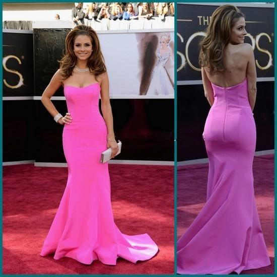 Нежные ярко розовый милая мария оскар платья знаменитости русалка вечерние платья