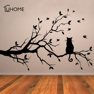 Cute Cat on A Tree Branch Birds Wall Sticker Vinyl Art Decal Window Decal Stencil for Kids Room Decor Black Color 38x58cm(China)