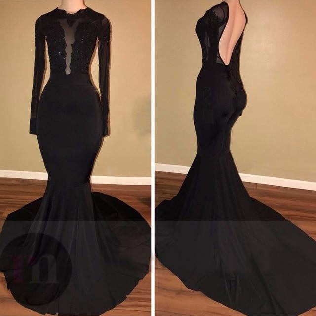Custom Made 2017 Backless Black Long Sleeve Prom Dress For Black