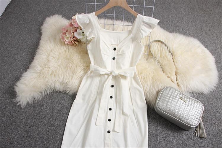 ALPHALMODA 18 New Polka Dot Shirt Pocket Dress Petal Sleeve Single Breasted Slim Sashes Women Fashion Summer Vestidos 25