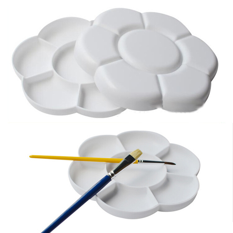7 Grids 16cm Large Color Palette W/ Lid Plastic Palette Art Paint Drawing Tray Oil Watercolour White Painting Pallet