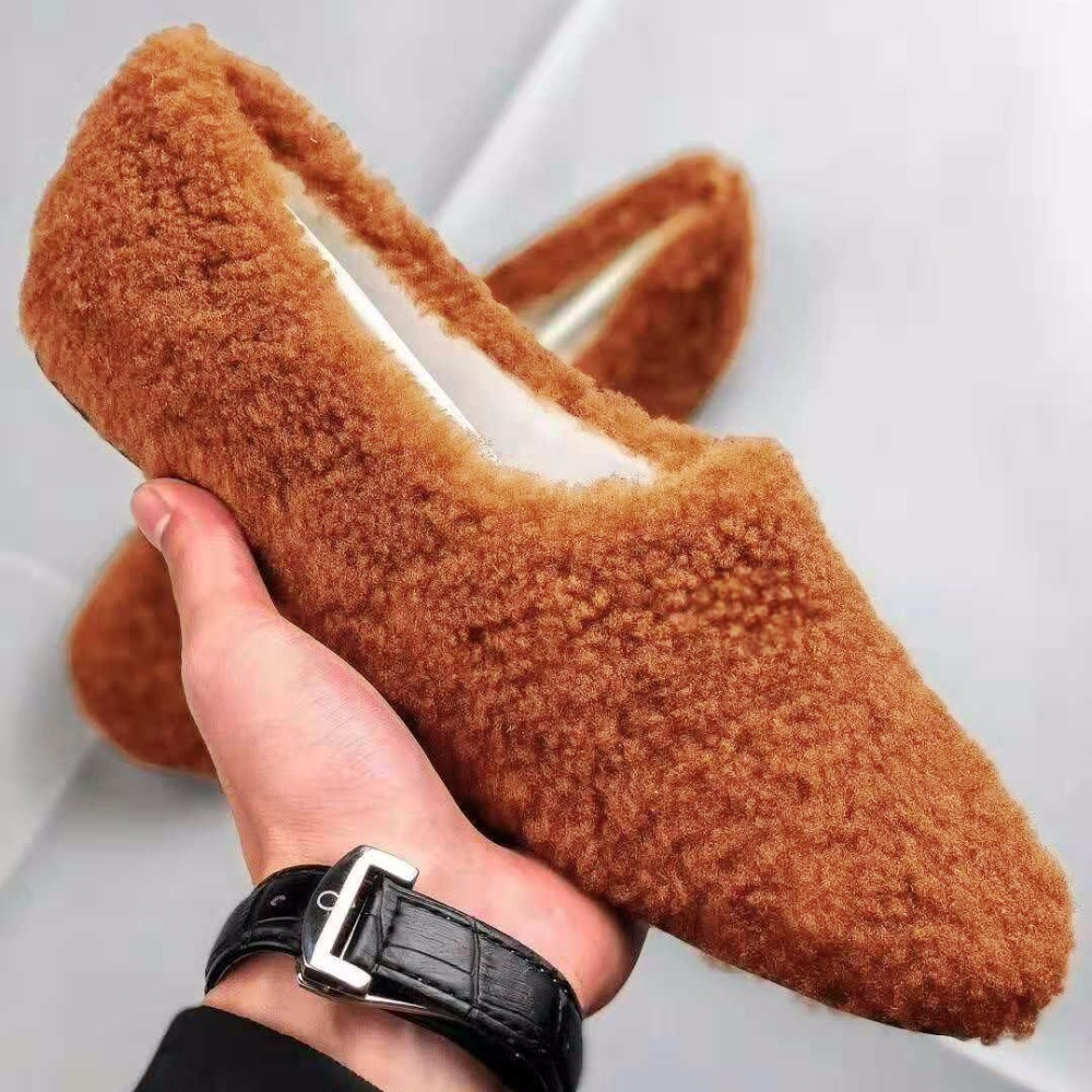 Fashion Flat Shoes Women Winter Shoes Slip on Wool Loafers Women Genuine Leather Moccasin Fur Slipper Home Indoor Shoes Big Size