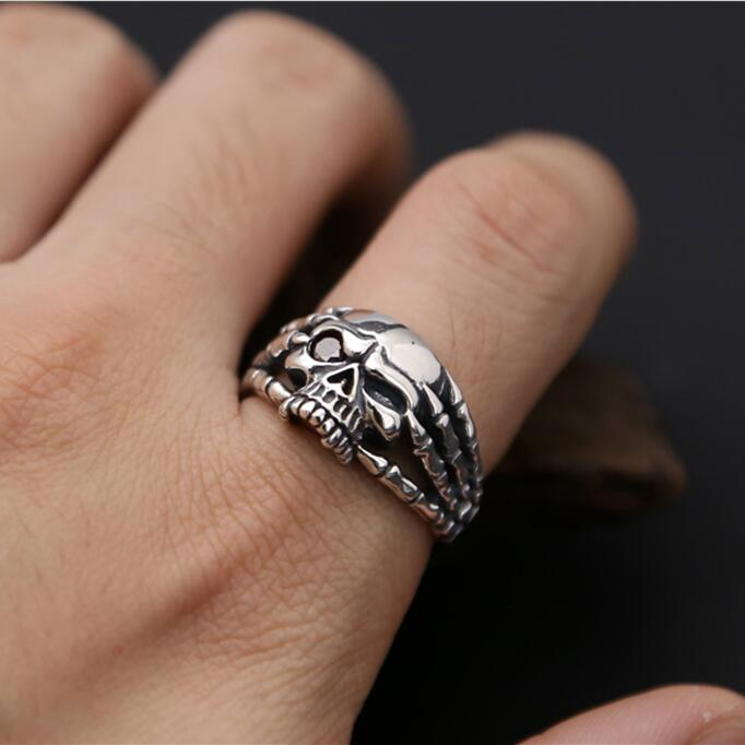 Готический панк серебро 925 череп кольцо для Для мужчин комплект один красный камень Прохладный тайский серебро Для мужчин s ювелирные издел...