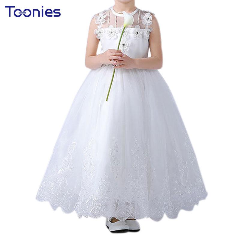 Kleid Für Mädchen Zeremonie Geburtstag Taufe Tutu Kleid Weiß