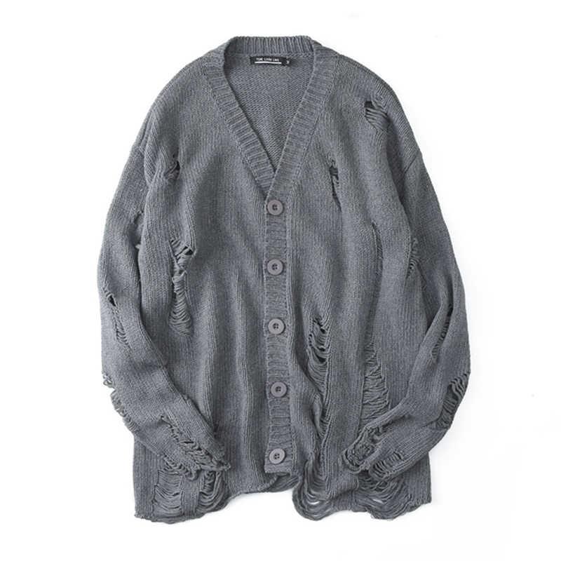 Schwarz Rot Zerrissene Pullover männer Streetwear Herbst Winter Hip Hop Loch Pullover Mode Übergroßen Männer Frauen Allgleiches Stricken Mäntel