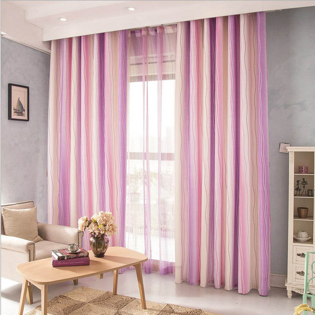 Modern Pink Curtains For Girls Room Stripe Pink Tulle Curtains for ...
