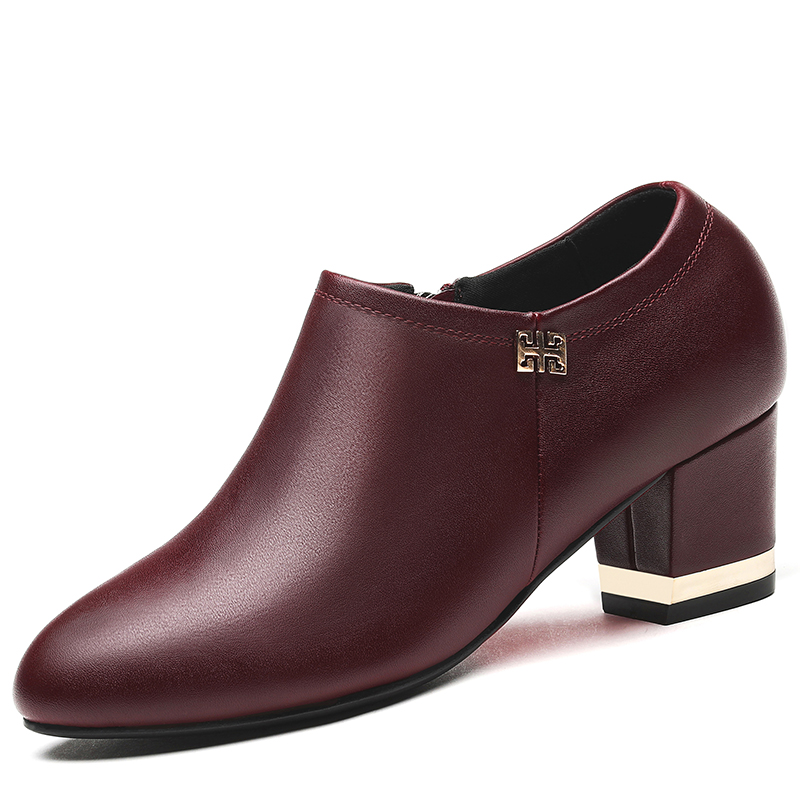 2018 Spring Autumn New Genuine Leather Women Pumps Shoes Female Black Red Square High Heels Ladies Work Shoes YG B0101 in Women 39 s Pumps from Shoes