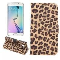Luxury Leopard Print PU Leather Case Funda For Samsung Galaxy S6 Edge Case Bracket Wallet Magnetic