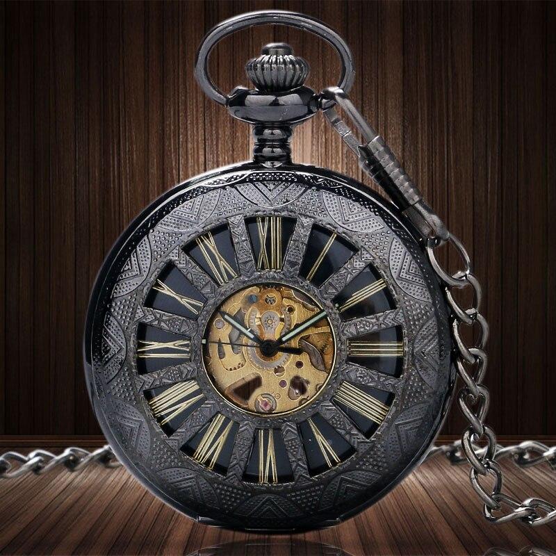 2 Type Vintage Charm Black Wheel Hollow Hand Winding Mechanical Pocket Watch Fob Chain Pedant Women Men Birthday Gifts P890-1C