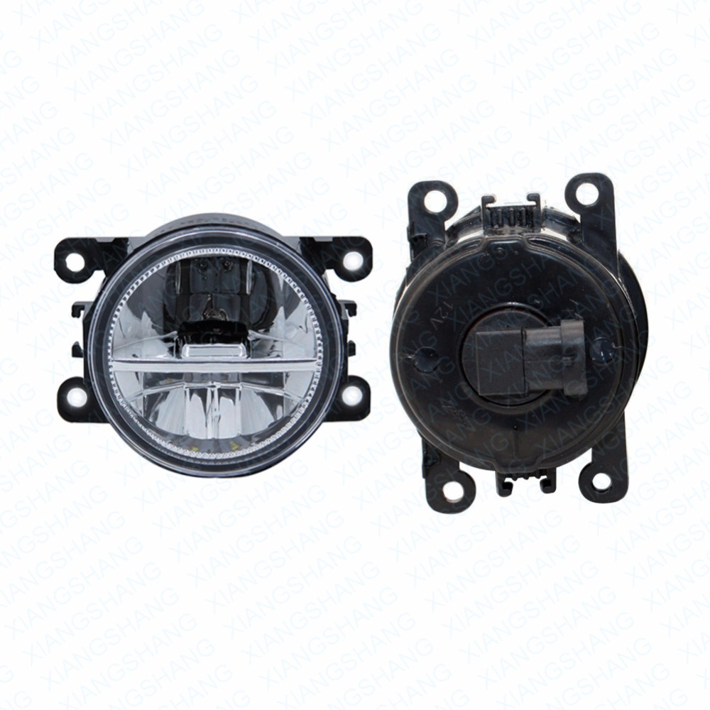 ФОТО 2pcs Car Styling Round Front Bumper LED Fog Lights DRL Daytime Running Driving fog lamps  For Peugeot 407 Coupe 6C_ 2005-2011