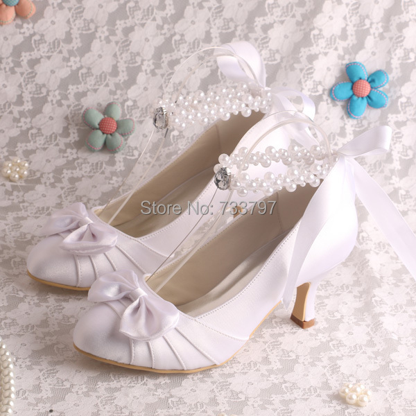 ФОТО Hot-Selling Med Heeled Bowknot  White Pumps Ankle Strap Wedding Shoes Closed Toe