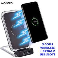 Wireless Charging QI Phone Stand for iPhone 8/8 Plus, iPhone X, Samsung Galaxy S8, Note 8 Plus Extra Two USB Slots