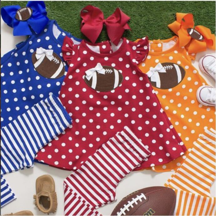 multi color Fall/Winter outfits American football girls children clothing embroidered short top striped pant match accessories